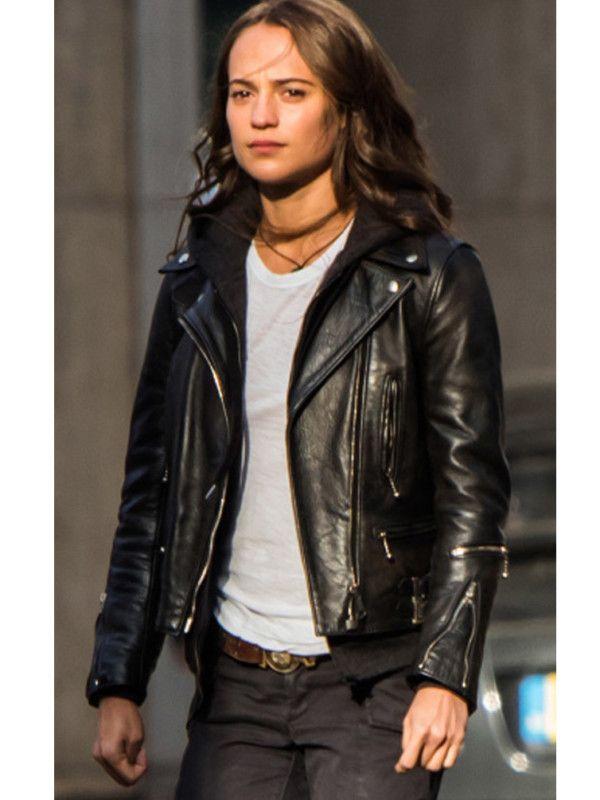 ba70936e0663 Tomb Raider Alicia Vikander Leather Jacket in 2019