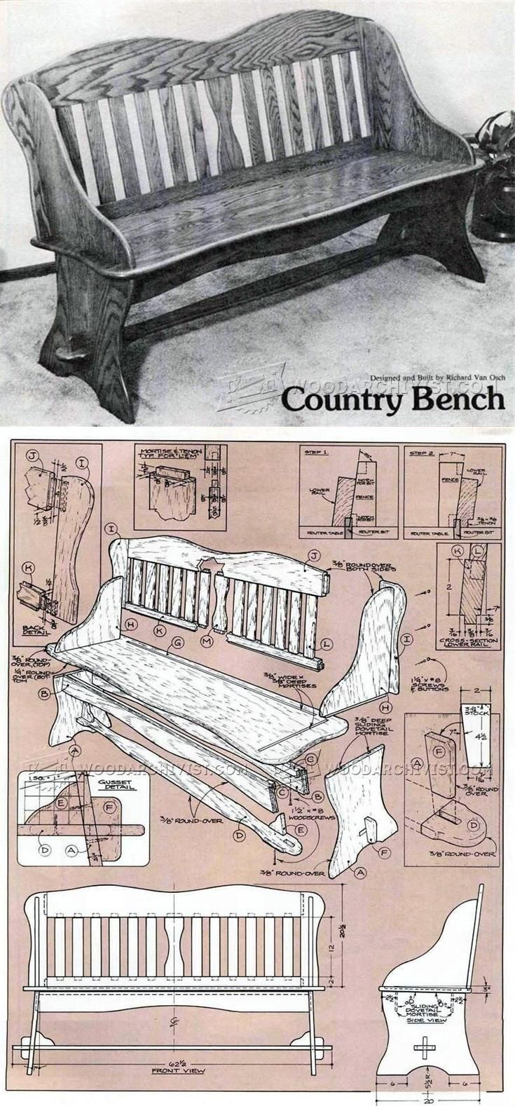 Country Bench Plans - Furniture Plans and Projects | WoodArchivist.com