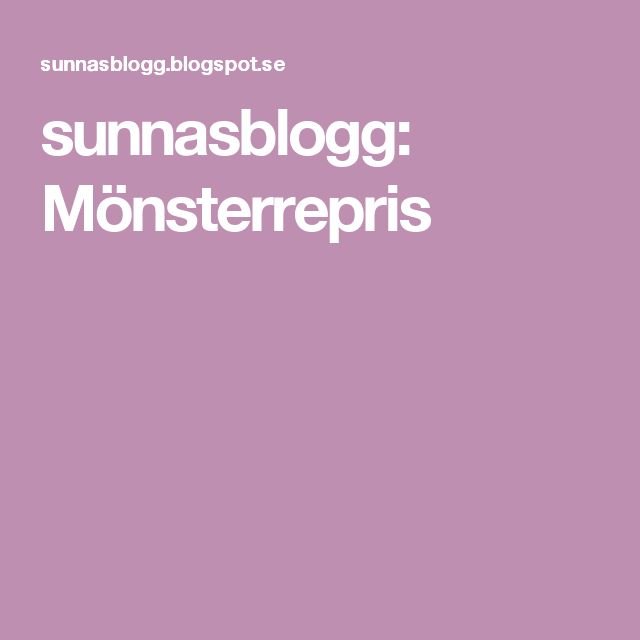 sunnasblogg: Mönsterrepris