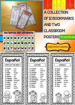 This resource contains two classroom posters (A4 and A3 size) you can display around your Spanish classroom or foreign language center whenever you want to teach some Spanish vocabulary and a collection of 12 different bookmarks your students will love to color and keep in their books.