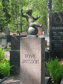 "Grave of Tove Jansson, the ""mother"" of Moomins. Hietaniemi"