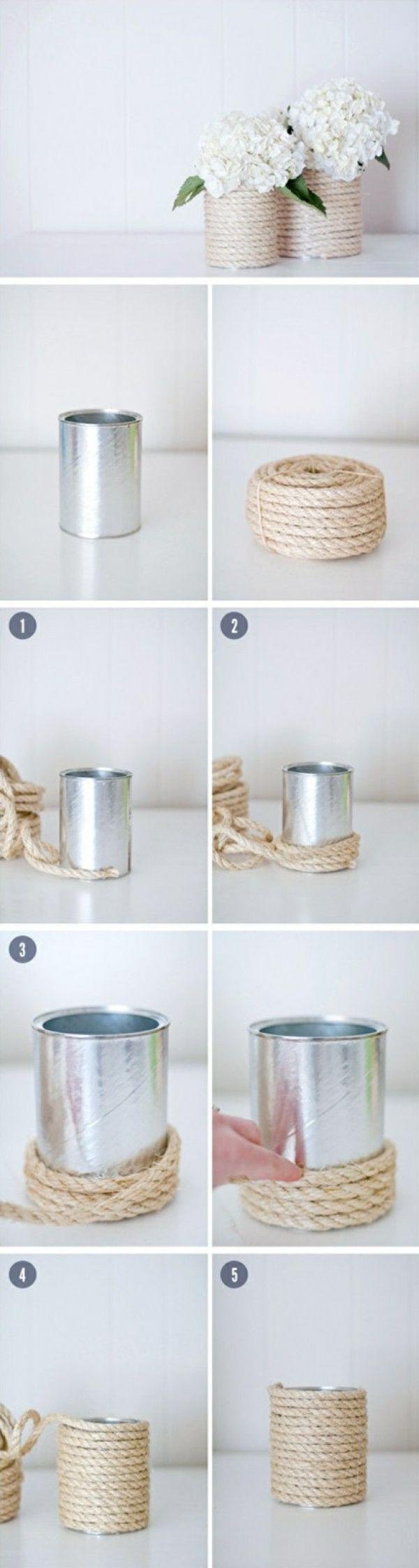 blumenvase aus glas bindfade umwickeln