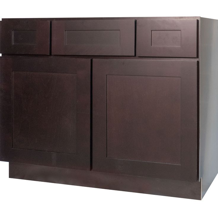 42 Inch Bathroom Vanity Single Sink Cabinet In Shaker Espresso Dark Brown With Soft Close