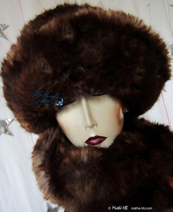 hoed groot koude winter chocolade auburn par MatheHBcouture sur Etsy