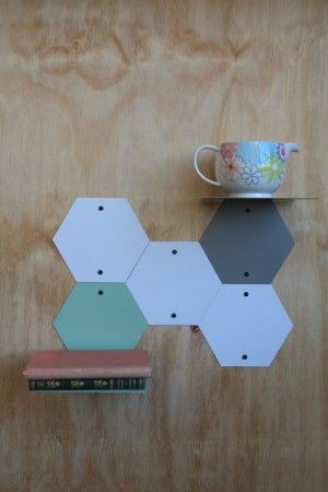 Hexagonal plates: Made to order, these plates are designed to be combined with the hexagonal shelv...