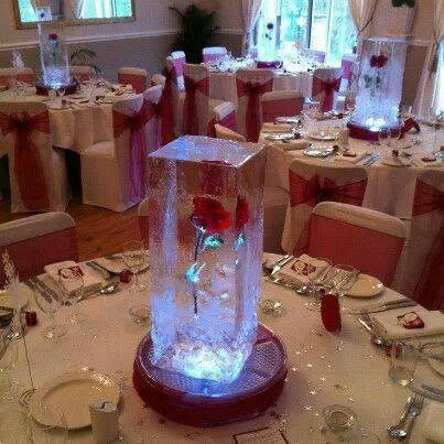 Beauty and the Beast inspired ice sculptures. Lasts for 7 hours and you can personalise the flower to your colour/theme. So unique.