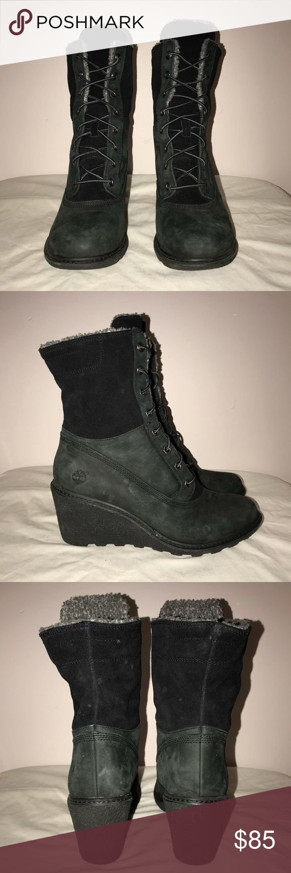 """Timberland winter boots Wedge heel boots, hardly worn. A couple dots that can come right off. About 2.5"""" heel. True to size, 100% suede leather Timberland Shoes Winter & Rain Boots"""