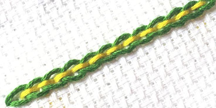 Back stitched chain stitch is a simple border stitch that combines the chain stitch and the back stitch.