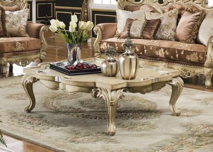 Antiqued White French Baroque Coffee Table