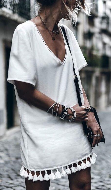 white tassel trim summer dress.