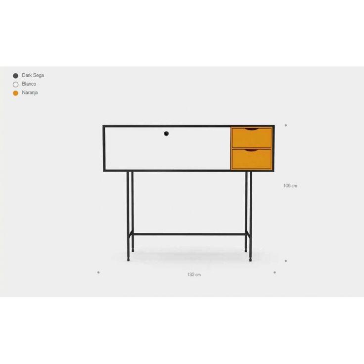 Aparador Aura M4 - Treku  Mueble alto M4, de la nueva colección Aura de Treku. Su estructura está realizado en madera de roble sega de color negro y lleva patas de 70cm de alto en grafito de color negro. El mueble se divide en dos partes, por una lado, una puerta abatible en madera lacada en color blanco y por otro lado, dos cajones en madera lacada en color naranja. Sus dimensiones son: 106cm de altura, 132cm de largo y 47cm de fondo.