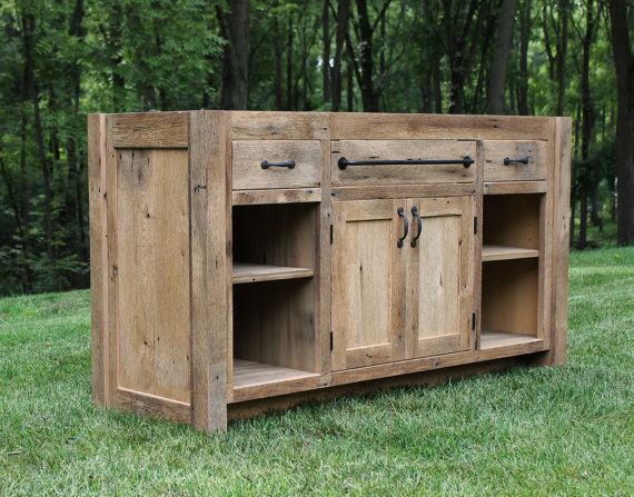 Rustic Vanity 60 Reclaimed Barn Wood w/Paneled Doors & by Keeriah