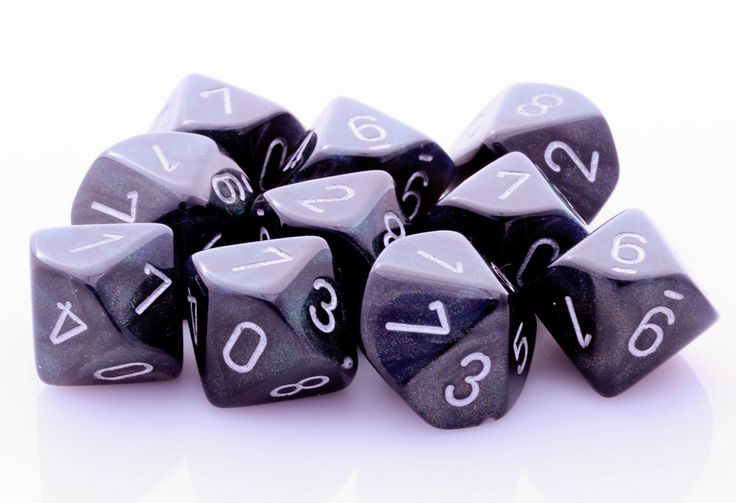 Borealis D10 Dice (Smoke Black); 10 X D10 Dice Set