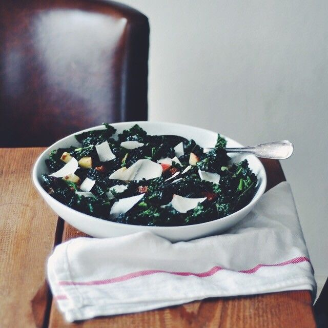 Kale Salad with Apples, Dates, and Warm Pancetta Vinaigrette   Turntable Kitchen