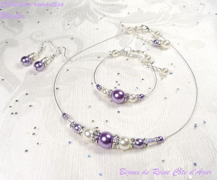 Parure mariage strass  mauve parme/blanc , collier bracelet mariage mauve blanc -  Collection Romantica - Maella