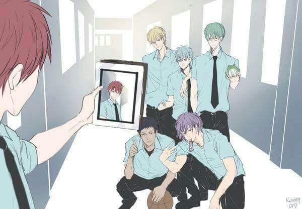 Kuroko no Basket Akashi Seijuro, Kise Ryota, Kuroko Tetsuya, Midorima Shintaro, Aomine Daiki and Murasakibara Atsushi anime boys