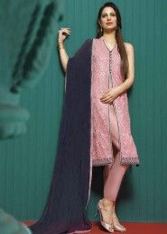 Party Wear Pink Georgette Heavy Embroidery Work Salwar Suit