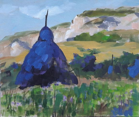 Haystacks blue (but not sad:)) - sketch