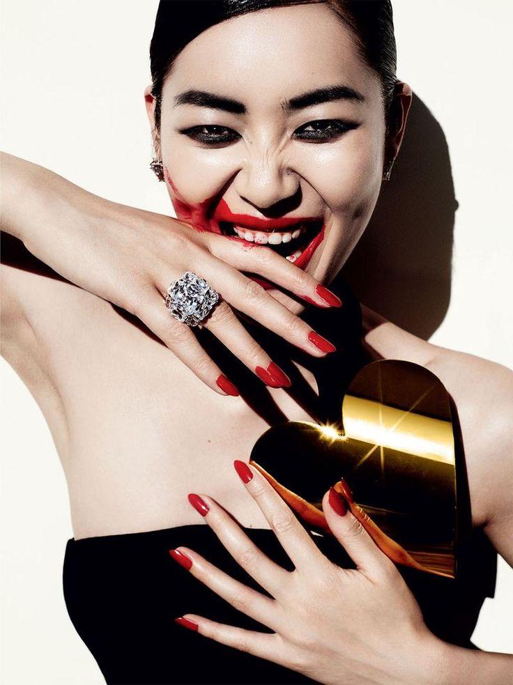 Savage Grace (Vogue China).  December 2013.   Mario Testino - Photographer.   Carlyne Cerf De Dudzeele - Fashion Editor/Stylist.   Oribe - Hair Stylist.   Serge Hodonou - Makeup Artist.   Liu Wen - Model.