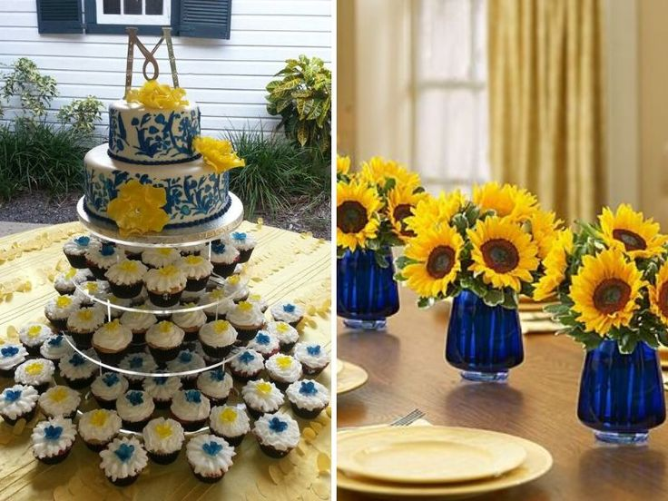royal blue and canary yellow wedding cake inspirations for blue and yellow wedding colors wedding 19345