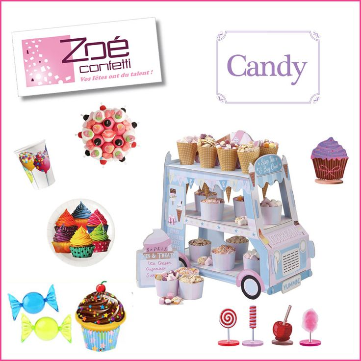 zo confetti articles d co et festifs candy gobelet et assiette en carton g teau de bonbons. Black Bedroom Furniture Sets. Home Design Ideas