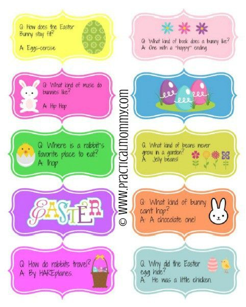 Check out these FREE Printable Easter Joke Stickers perfect as Easter Egg Fillers for your non-candy Easter baskets this year!
