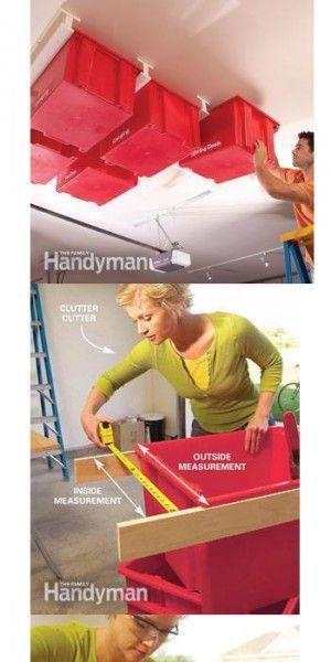 Opbergen aan het plafond. Zowel handig voor speelgoed, of papieren wat lang bewaard moeten blijven, als tuinmateriaal, nzo ...