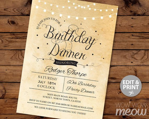 Elegant BIRTHDAY Dinner Party Invite INSTANT DOWNLOAD Cocktail Edit Any Age…