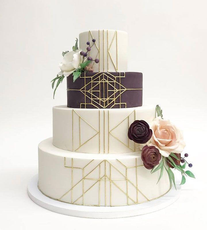 Gorgeous Plum & White Art Deco Inspired Wedding Cake ~ love this cake by Nine Cakes!  Plum, deep burgundy and blush sugar flowers accent this four tier cake.