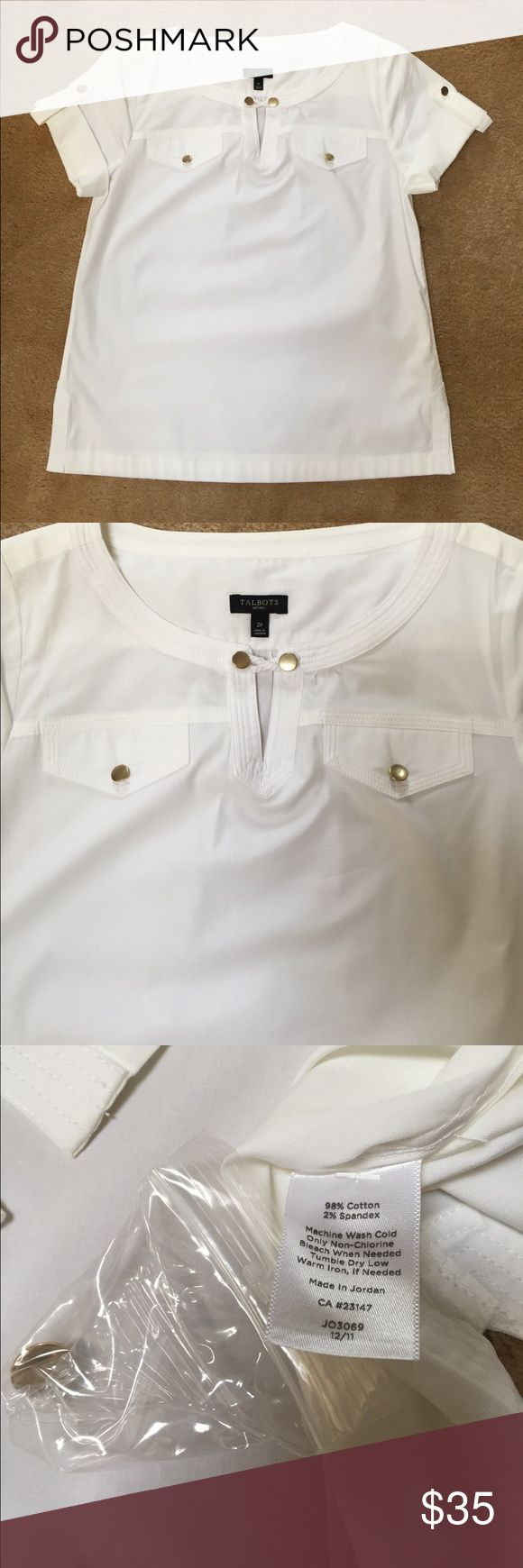 Talbots's Nautical Blouse NWOT NWOT Adorable crisp white nautical pullover Blouse! Pair with shorts or capris for your next boat  ride! Talbots Tops