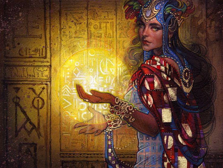 Mother of Runes – 8.75″ x 6.75″ – Mixed Media & Gold Leaf on Velvet Paper by Terese Nielsen.