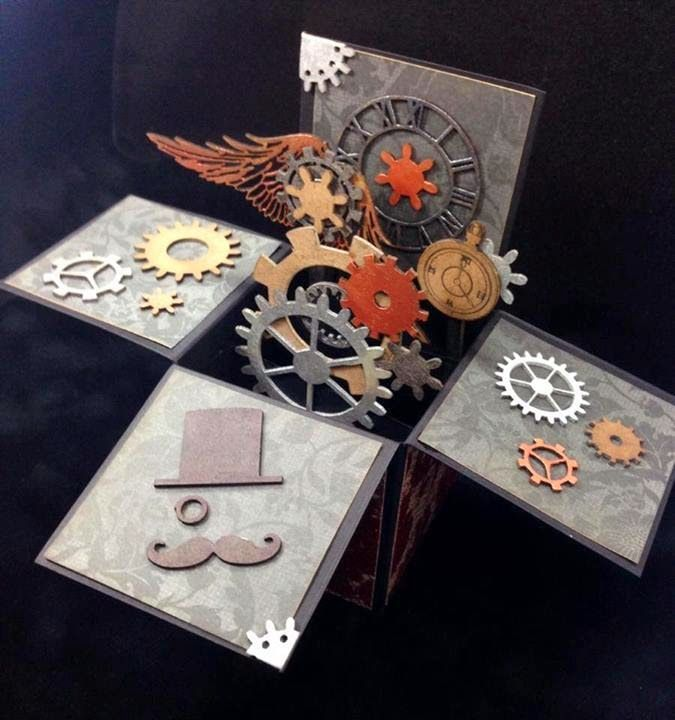 Great guy card. Wood Embellishments: Steampunk Pop-Up Box Card Tutorial