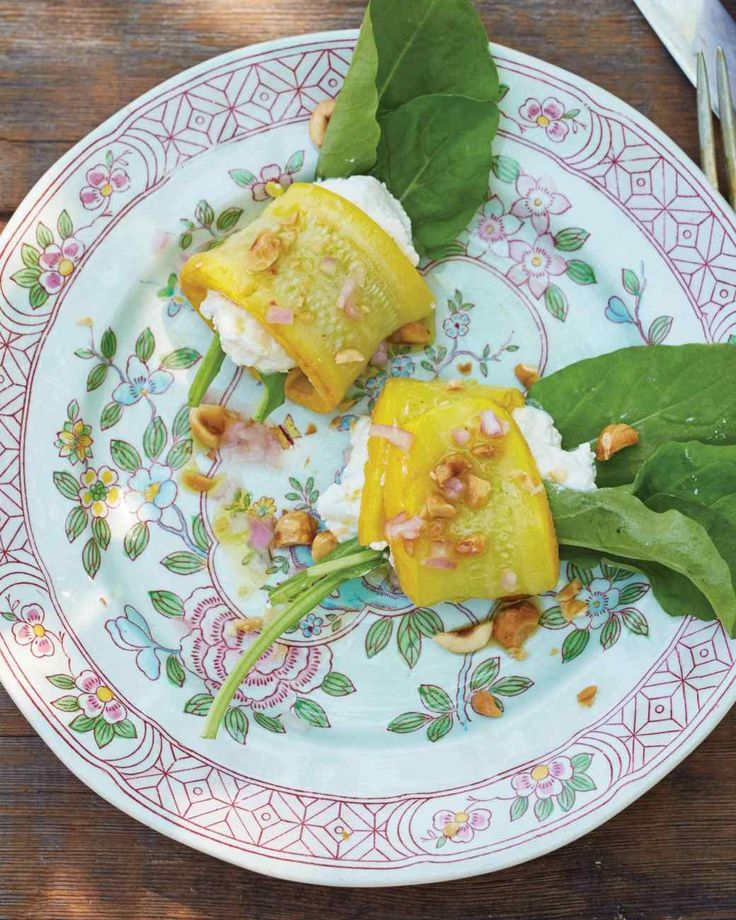 SummerSquash Rolls with Herbed Ricotta, Arugula, and
