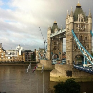 The view from the room--Tower Bridge from the Tower Hotel, London...19JUL12