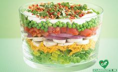 bunter schichtsalat rezept, vegane Diät rezept