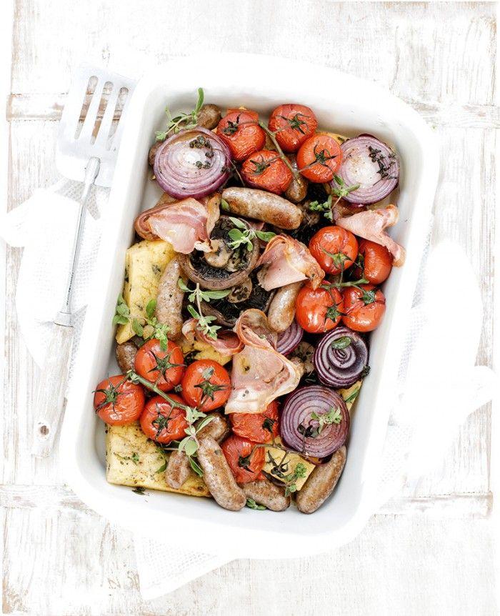 Sausage, Polenta & Pancetta Tray Bake | MiNDFOOD