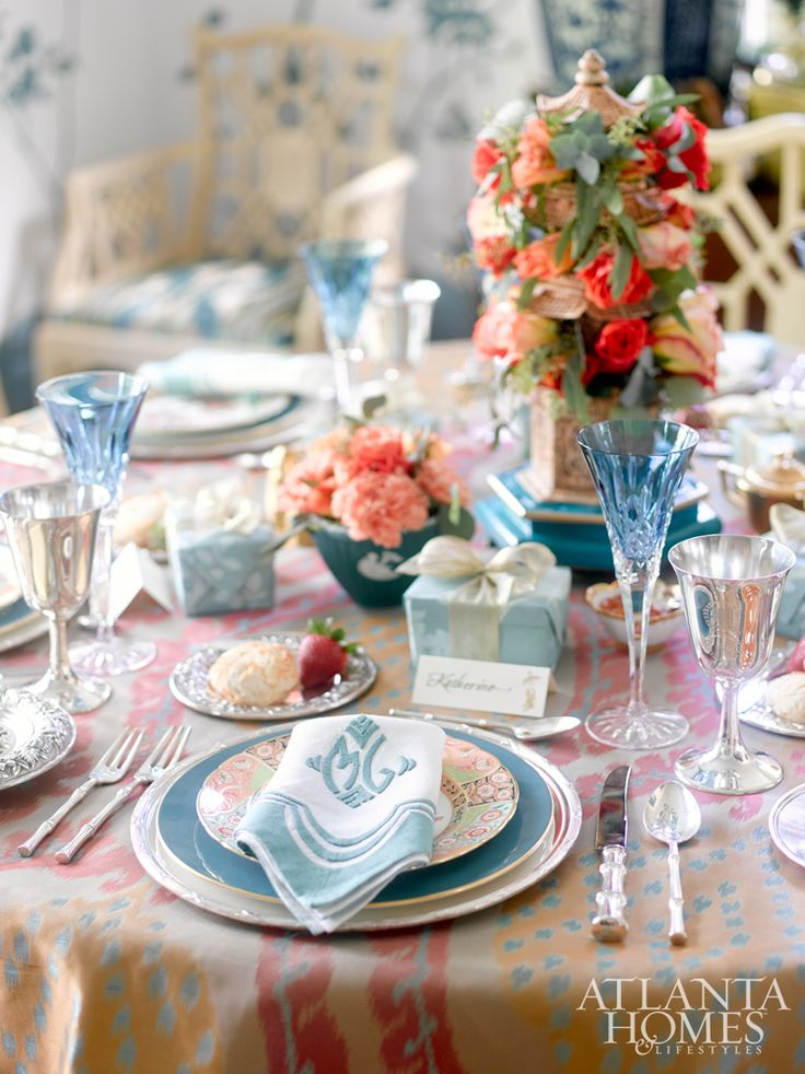 This holiday table deftly mixes new and old, from Julia B.'s Versailles linens perched upon Royal Crown Derby china to the turquoise Waterford flutes atop the ikat Old World Weavers fabric.