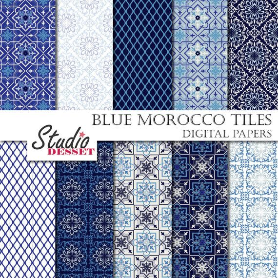 Blue Mosaic Tiles, Morocco Papers, Bohemian Digital Paper in blue and white, Morrocan mosaic patterns, Middle East A138