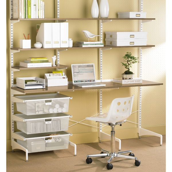 Coffee & White elfa freestanding Study | SHELVING SALE $670.42