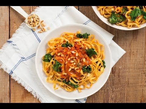 Tagliatelle with Kale & Pine Nuts in Truffle Porcini Cream Sauce Recipe | Mezzetta