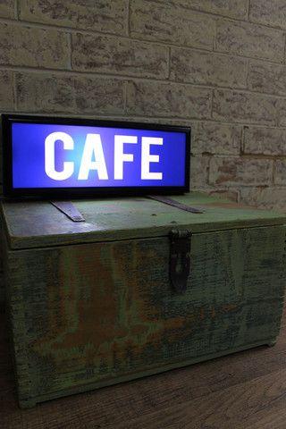 Light Box: Cafe. Illuminated lightbox sign. Genuine wooden light box - Fat Shack Vintage - Fat Shack Vintage