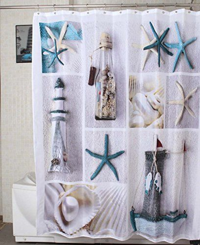 78 ideas about nautical shower curtains on pinterest - Rideau style bord de mer ...