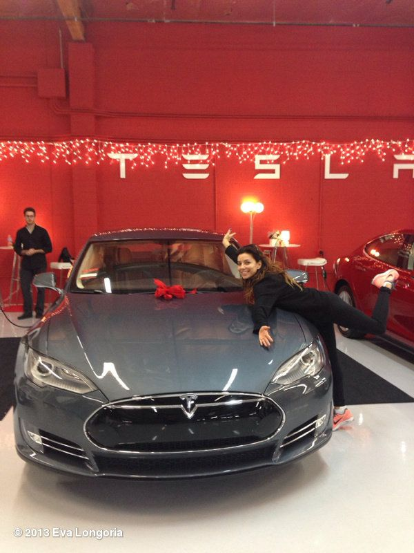 Eva Longoria with her new Tesla For more, check out: www.evannex.com