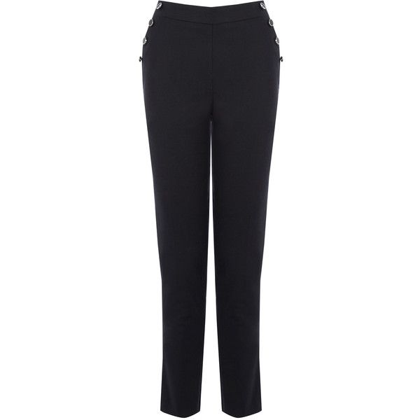 OASIS Button Tailored Trousers (£20) ❤ liked on Polyvore featuring pants, blue, tailored pants, sailor pants, blue pants, button pants and sailor button pants