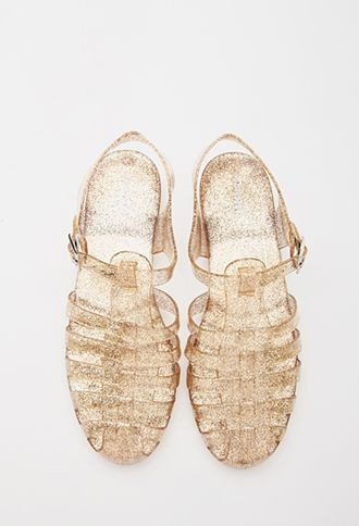 Caged Glitter Jelly Sandals | FOREVER21 - 2000078763  Maggie you had these in pink glitter when you were not even 1! Dad bought them for you?)