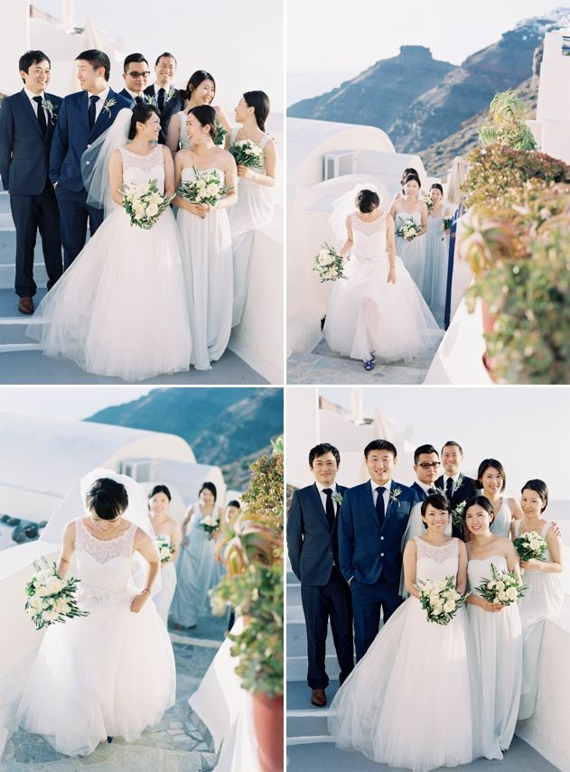 The Bridal Party In Firostefani. Photo Jen Huang - Wedding By Stella And Moscha