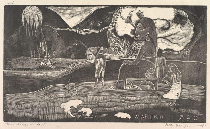 Eugène Henri Paul Gauguin (1848-1903) Maruru, 1893–94 Woodcut on China paper; block: 8 x 14 in. (20.3 x 35.6 cm); sheet: 10 3/8 x 17 in. (26.4 x 43.2 cm) Rogers Fund, 1921 The Metropolitan Museum of Art, New York 21.38.3