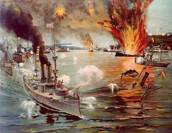 Spanish–American War-- was a conflict fought between Spain and the US in 1898. Hostilities began in the aftermath of sinking of the USS Maine in Havana harbor leading to American intervention in the Cuban War of Independence. American acquisition of Spain's Pacific possessions led to its involvement in the Philippine Revolution and ultimately in the Philippine–American War.