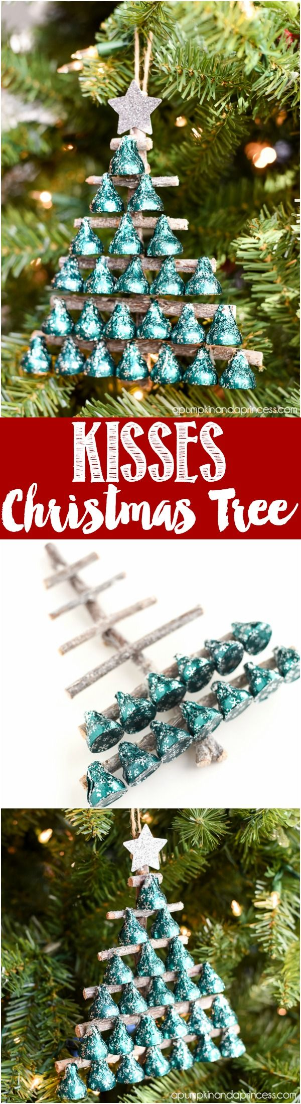 DIY KISSES Candy Christmas Tree - cute neighbor gift or teacher gift idea kids can make.