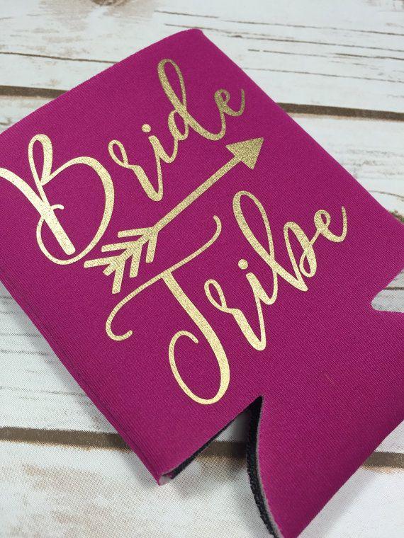 pink bride tribe gold koozie